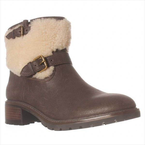 Coach Gabriella Shearling Top Ankle Boots, Chestnut/natural - 6.5 us