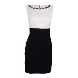 Connected Apparel Women's  Embellished Tiered Sheath Dress - 4P