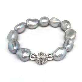 Grey Baroque Pearl 'Radiance' stretch bracelet 14k Over Sterling Silver