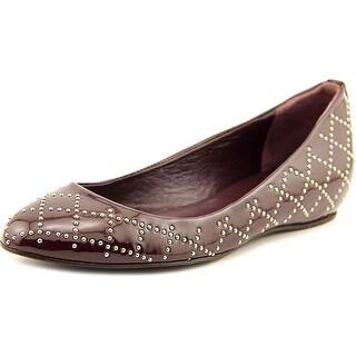 Delman Cache Women Round Toe Patent Leather Purple Flats
