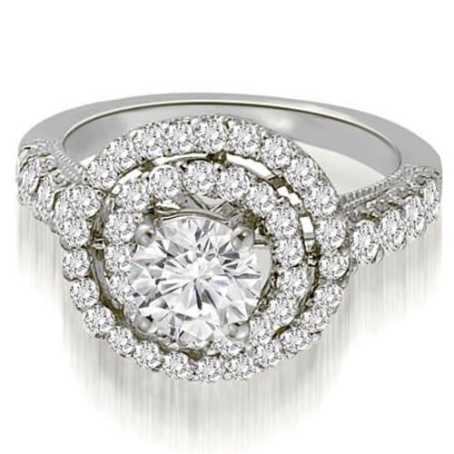 1.65 cttw. 14K White Gold Milgrain Double Halo Round Diamond Engagement Ring