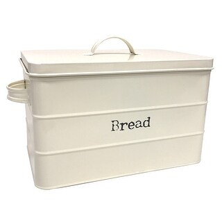 Home Basics Vintage Tin Bread Box, Ribbed Pattern, Ivory, 13.25x8.5x10 Inches