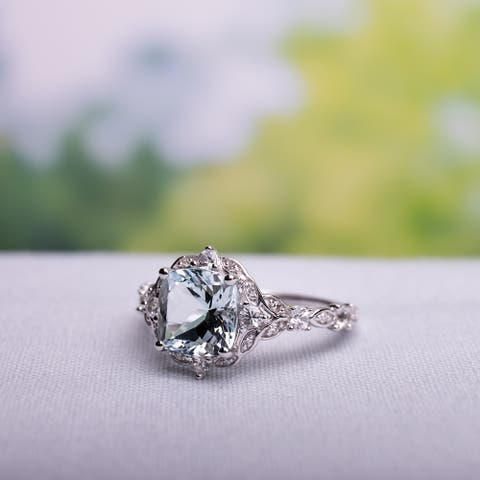 Vintage Aquamarine White Sapphire and Diamond Ring in 14k White Gold by Miadora