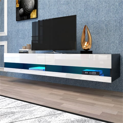 AOOLIVE White TV Stand with 20 Color LEDs with storage,shelves