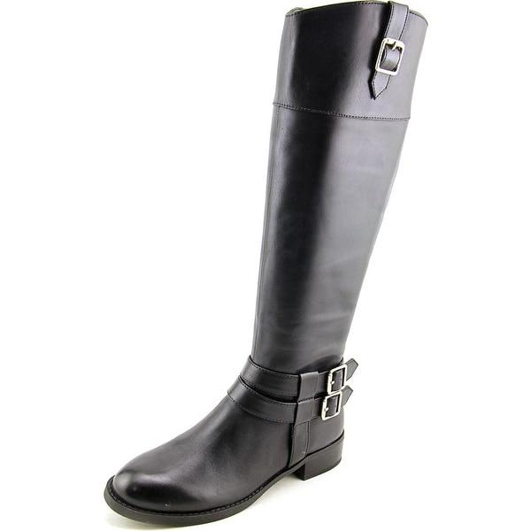INC International Concepts Fahnee Women Round Toe Leather Black Knee High Boot
