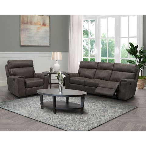 Abbyson Lawrence Fabric Manual Reclining Sofa and Recliner Set