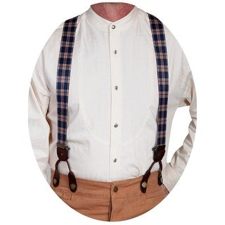 Scully Western Suspenders Men Plaid Print Elastic Classic Beige RW246S - One size