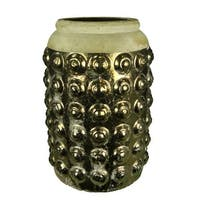 Ceramic Vase With Pimpled Pattern, Gold