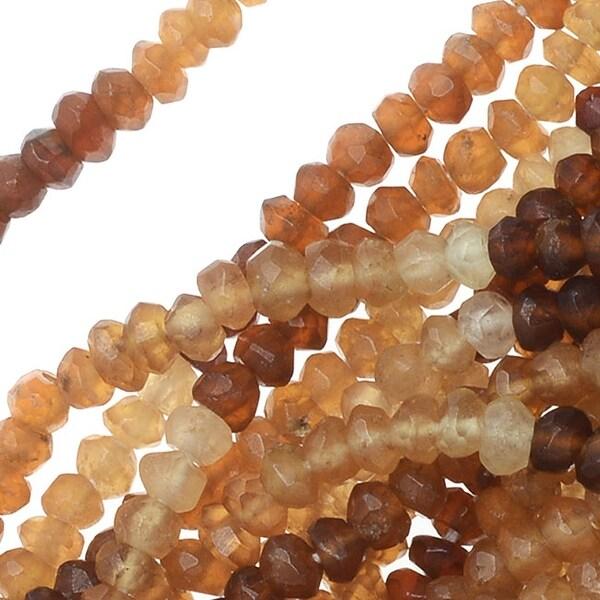 Hessonite Garnet Gemstone Beads, Faceted Rondelles 2x3mm, 13 Inch Strand, Brown