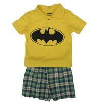 DC Comics Baby Boys Yellow Batman Logo Tee Plaid 2 Pc Shorts Set