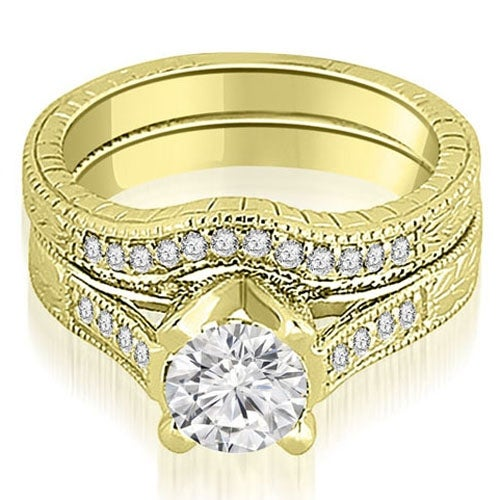 1.00 cttw. 14K Yellow Gold Antique Cathedral Round Cut Diamond Engagement Set