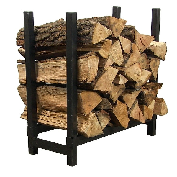Sunnydaze 30 Inch Black Steel Firewood Log Rack