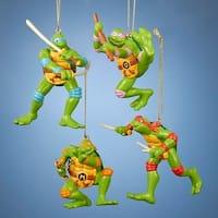 "Set of 4 Retro Teenage Mutant Ninja Turtles Christmas Ornaments 3.75"" - green"