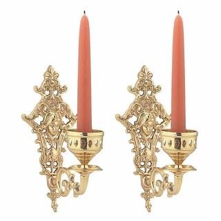 2 Candle Wall Sconces Bright Cast Brass Medusa Set of 2 Renovator's Supply