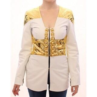 Vladimiro Gioia Vladimiro Gioia White Gold Metallic Leather Jacket