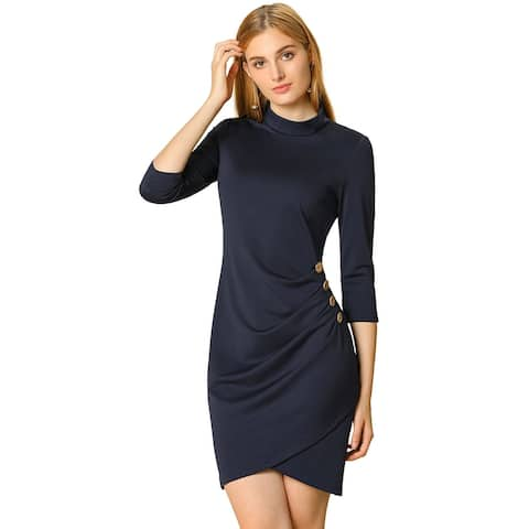 Women's Work 3/4 Sleeve Ruched Stretchy Bodycon Short Dress - Navy Blue