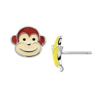 Girl's Monkey & Banana Stud Earrings in Sterling Silver