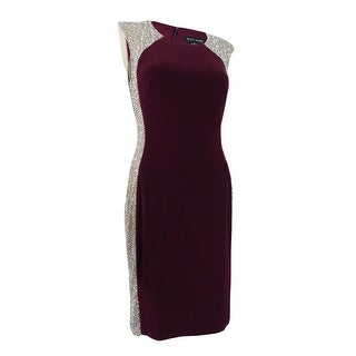 X By Xscape Women's Embellished Sheath Dress - wine/nude/silver