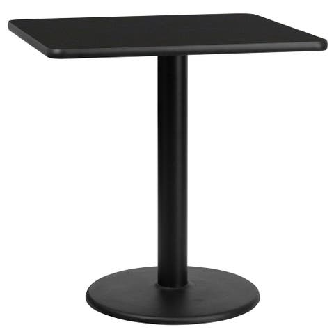 """30'' Square Laminate Table Top with 18'' Round Table Height Base - 30""""W x 30""""D x 31.125""""H"""