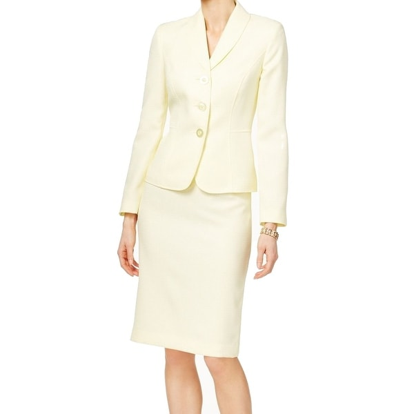 Le Suit NEW Yellow Womens Size 16 Three Button Shawl Collar Skirt Suit