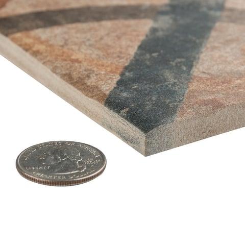 "SomerTile Americana Cleveland Encaustic 8.75"" x 8.75"" Porcelain Floor and Wall Tile"