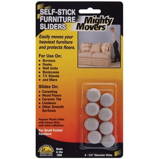"""Mighty Movers Self-Stick Furniture Sliders-.75"""" Round 8/Pkg"""