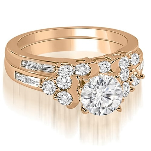 2.25 cttw. 14K Rose Gold Round And Baguette Cut Cluster Diamond Bridal Set