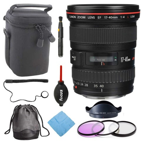 Canon EF 17-40MM F/4L USM Ultra Wide Zoom Lens with Deluxe Accessory Bundle