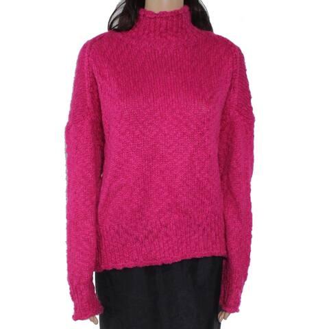 525 America Women's Sweater Fuschia Large Knit Turtleneck
