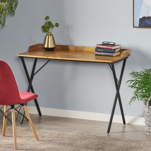 Groveport Modern Industrial Handcrafted Mango Wood Tray Top Desk by Christopher Knight Home