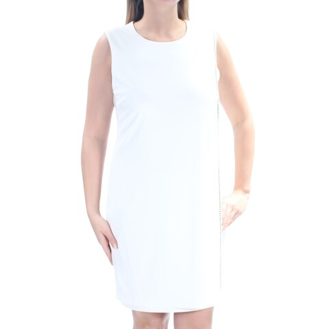 JESSICA SIMPSON Womens Ivory Embellished Sleeveless Jewel Neck Above The Knee Dress Size: 12