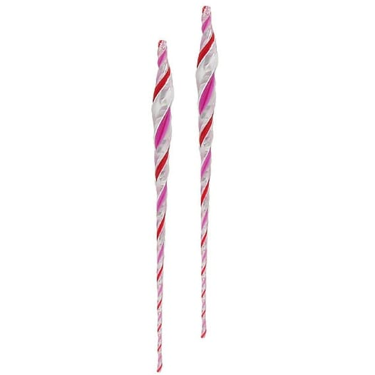 """Pack of 2 Candy Fantasy Pink Peppermint Twist Icicle Christmas Ornaments 13"""""""