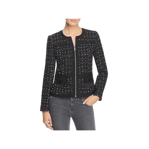 Karl Lagerfeld Womens Collarless Blazer Tweed Office Wear