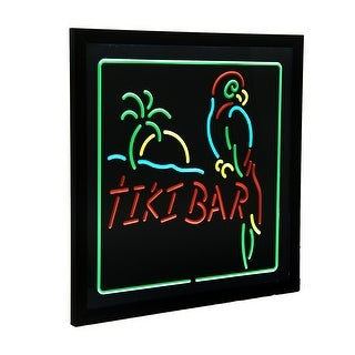 Hanging Electric Parrot & Palm Tiki Bar LED Wall Sign 20 x 20 inch - Black