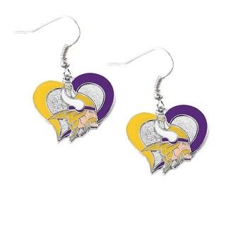 Minnesota Vikings Swirl Heart Earring NFL Dangle Logo Charm Gift