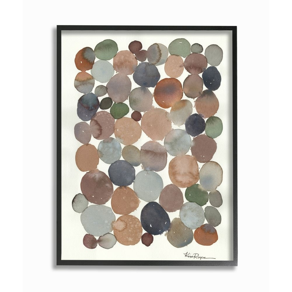 Shop Stupell Industries Earth Tone Organic Circles Abstract Cobblestone Design Framed Wall Art White Overstock 31610120