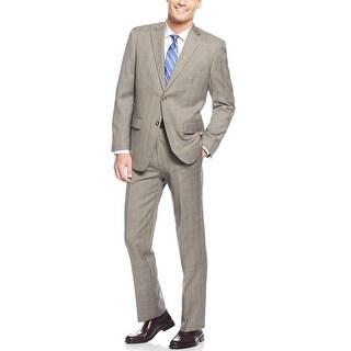 Tasso Elba Beige and Khaki Plaid Suit 40 Regular 40R Flat Front Pants 34W
