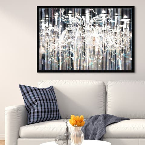 Oliver Gal 'Diamond Shower' Fashion and Glam Framed Wall Art Prints Chandeliers - Black, White