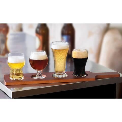 Libbey Craft Brews Beer Tasting Glasses with Wood Carrier, Set of 4