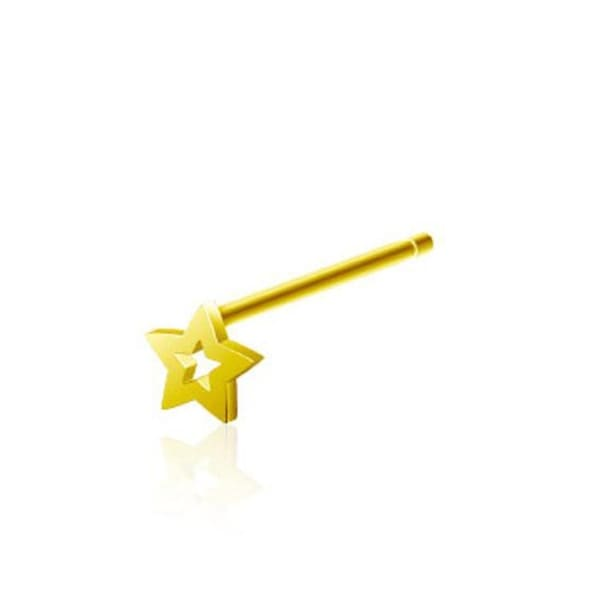 """20 GA .925 Sterling Silver Gold Plated Bendable Nose Ring with 3mm Hollow Star 1/2"""" Long (Sold Ind.)"""