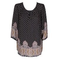 9b2c6dc3e1c Shop Charter Club Black Floral 3 4-Sleeve Pintucked Blouse M - Free ...