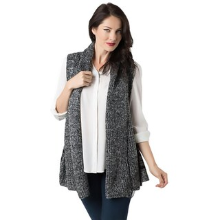 Look Womens Sweater Vest Heathered Open Front - o/s
