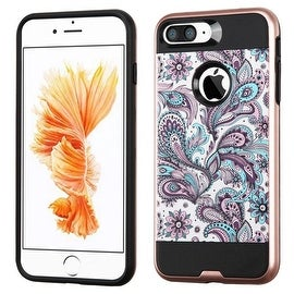 Insten Purple/ White European Flowers Hard PC/ Silicone Dual Layer Hybrid Rubberized Matte Case Cover For Apple iPhone 7 Plus