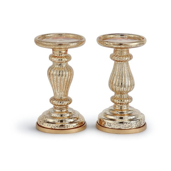 """Mercury Glass 8.5"""" Lit Pillar Candle Holder with Timer- Gold(set of 2)"""