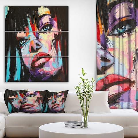 Designart 'Woman Portrait Gloom' Glamour Print on Wrapped Canvas set - 28x36 - 3 Panels