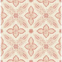 Brewster 1014-001828 Off Beat Ethnic Red Geometric Floral Wallpaper - off beat ethnic red