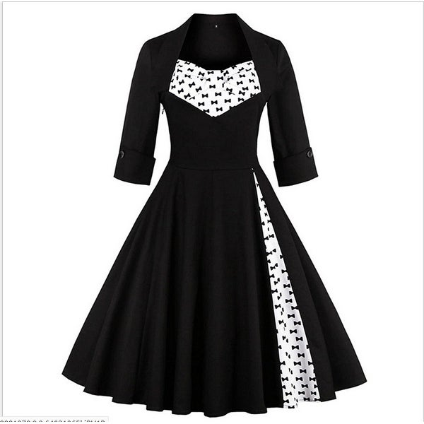 Rockabilly Black Floral Vintage Retro Party Dress Plus Size - Antique Black  - S