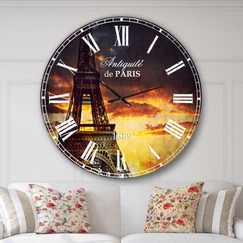 Designart 'Sunset View with Paris Eiffel tower' Cityscapes Large Wall CLock