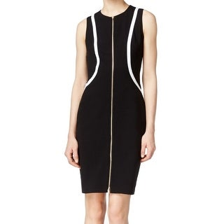 Calvin Klein NEW Black Women's Size 10 Contrast Knit Sheath Dress