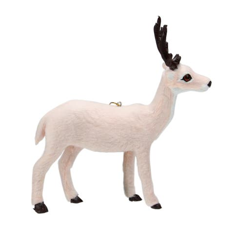 6 Rose Pink Plush Standing Reindeer Christmas Ornament - N/A